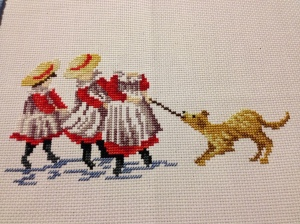 in progress - three little girls and the dog