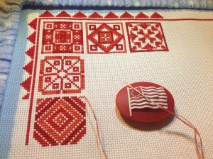 Redwork Quilt... in progress