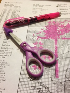 Marking a pattern with highlighter.